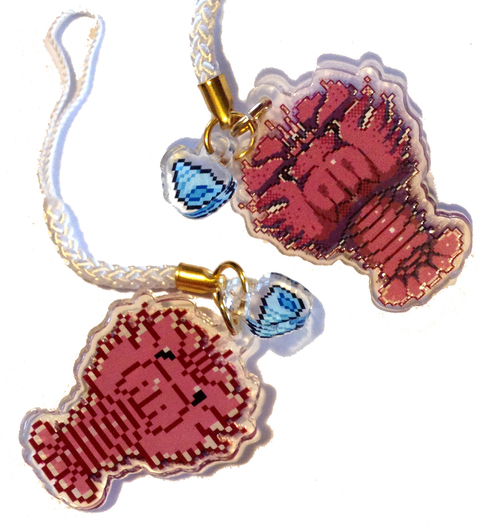 Slipper Lobster Double Sided Acrylic Charm - Blue Shell